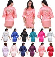 Mode Brautpartei Robe Brief Braut Auf Der Robe Zurück Frauen Kurze Satin Hochzeit Brautjungfer Mutter Roben Kimono Nachtwäsche Spa Roben