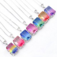 Luckyshine 12 Pcs Lady rectangle Jewelry Vintage Bi colored ...