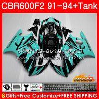 +Tank For HONDA CBR 600F2 CBR600FS 600CC 1993 1994 93 94 Fairing 40NO.137 CBR600 F2 CBR 600 FS F2 CBR600F2 cyan black 1991 1992 91 92 Kit
