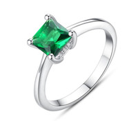 Emerald Simple Female Zircon Stone Finger Ring 925 Sterling ...