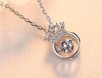 도매 - 새로운 크라운 다이아몬드 펜던트 S925 스털링 실버 목걸이 구타 심장 항목 우아한 숙녀 무료 배송 목걸이 상감