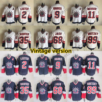 New York New York Rangers Vintage Trikots 99 Gretzky 11 Messier 68 Jagr 9 Graves 2 Leetch 35 Richter CCM Hockey-Trikots