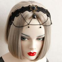 Schwarze Quasten Lace Stirnband Halloween Holzkohle Edelstein Bronze Kette Quaste Stirnbänder Gothic Style Braut Haarschmuck
