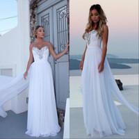 Дешевые пляжные белые свадебные платья шифоновые кружева аппликации милая шея свадебное платье невесты обручальные платья vestido de novia