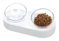 15 grados ajustable Comedero de gato un plato de doble puerto oblicua Kitten Fuente del agua potable perro Dispenser alimentador Utensilios