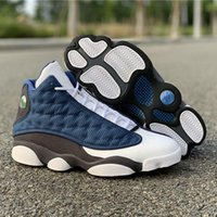 New hight Flints Basketball Shoes 13s Army Blue Top Leather ...