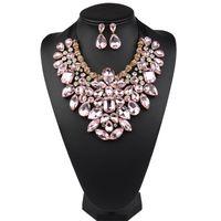 Declaração de cristal Brincos de colar arrastar rainha Jóias conjunto para mulheres Bib Costume Bling Clue Strass Jóias com fita