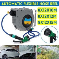 Wall Mounted Automatic Reel 10 12 15m Retractable Garden Hose Pipe Reel Water Outdoor Spray Water Garage Tool Car Cleaning Tools