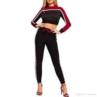 Женщины Повседневная спортивный костюм с длинным рукавом полосатой спортивной одежды хит Цвет ползунки комбинезон 2шт комплект спортивный топ + брюки