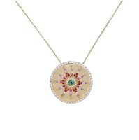 CZ sun flower round coin Pendant necklaces for women rainbow...