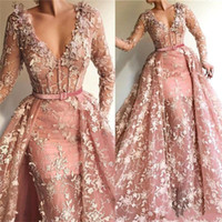 Arabic V Neck Prom Dresses with Detachable Train 2020 Lace A...