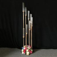Metal Mumluk Mumluklar Mum Tablo Centrepiece Çiçek Vazo Yol Candelabrum İçin Düğün Ev Dekorasyonu Kurşun