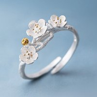 2018 1PC The Cherry Blossom Branch Rings for Women Adjustabl...