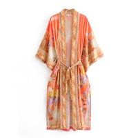 Mujeres traje largo Kimono Cardigan blusas verano Boho sirena impresión moda Bohemia Sashes Maxi Cardigan playa Boho camisa suelta cubierta-Ups nuevo