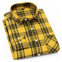 캐주얼 남성 격자 무늬 셔츠 봄 가을 플란넬 셔츠 남성 드레스 셔츠 패션 긴 소매 슬림 맞춤 슈 옴므면 남성 셔츠는 S-4XL를