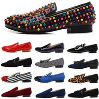 роскошные дизайнерские мужские кожаные туфли шипы красные днища квартиры замша холст мокасины вино красный черный синий scarpe des chaussures pour hommes