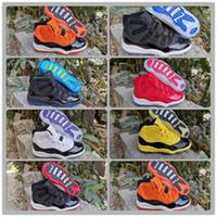 los niños TD 11s Space Jam zapatos de baloncesto Concord Bred Gamma muchacho azul zapatilla de deporte infantil y una niña grande Formadores Negro Naranja Amarillo de los niños