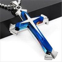 New drei Schichten Kreuz-Anhänger der Qualitäts-Blau Schwarz-Silber-Edelstahl-Kreuz-Anhänger der Männer Perlenkette Kette