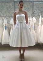 Свадебное платье в стиле без бретелек с карманами с карманами Свадебные платья свадебные свадебные платья свадебные платья дешевые SW0031