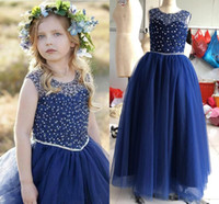 2020 Royal Blue Girls Pageant Dresses Jewel Floor Length Cry...