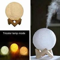 880ML esencial difusor de aceites humidificador 3D de la luna llevó las luces de la noche Humidificador Difusor Aroma USB Tricolor niebla purificador ZZA1609-1