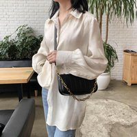 Casual spalla borsa catena Pure Color Borse ascellare spalla Cuoio Forma Baguette Bag Women Fashion classica borsa
