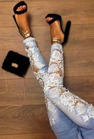 Free shipping 02 fashion sexy lace openwork lace long jeans ...