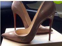 2019 Moda a punta le dita dei piedi Tacchi alti Designer Black Nude IRED pattini inferiori Shallow sexy pelle di pecora di alta scarpe col tacco Abito da sposa Donne