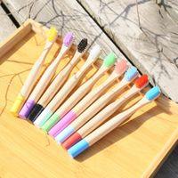Tratar a los niños de bambú cepillo de dientes Cepillos de dientes Ronda de bambú natural del tubo del cepillo con la caja de embalaje de viaje Higiene Oral Hoteleria GGA2475