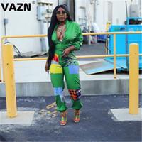 VAZN V الرقبة طباعة الملونة الجديدة 2020 موضة جديدة شارع العليا حللا عارضة السراويل الهيئة غير الرسمية مثير طويل نحيف طويل بذلة