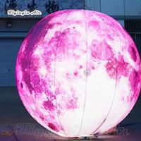 شخصية الإضاءة نفخ الكونية الوردي كوكب مخصص تفجير القمر الكرة العملاق LED غلوب بالون لحفل المرحلة الديكور