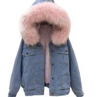 Femmes Faux Cuir Jean Jacket Hiver épais Jacket Jean Veste en fausse fourrure en polaire manteau en jean à capuche femelle chaude denim Outwear