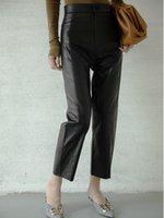 2020 mujeres nuevos pantalones de cuero genuinos reales reales W1