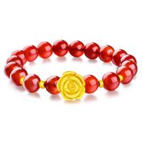Huilin Bijoux Imitation or rose transfert perles bracelet femme 3D plaqué or bracelets pour femmes envoyer maman petite amie bijoux cadeau