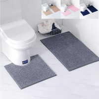 Non-Slip banho Bath Mat Set WC Tapetes Chenille Anti Slip Shower Tapetes Set Início Toilet Tampa Tampa Shower Room Tapete Floor Mats YP393