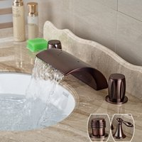 Oil Rubbed Bronze Widespread Waterfall Dual Handle Basin Fau...