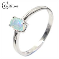 100% natural opal ring for engagement 4 mm * 6 mm brilliant ...