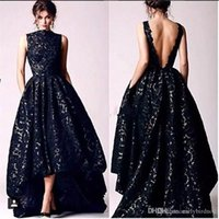 2017 New Arabic High Low Black Lace Prom Party Dresses Vinta...