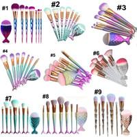 Componga le spazzole 8pc di contorno del fondamento della polvere di bellezza delle spazzole del pesce della sirena delle donne delle spazzole Trasporto libero del DHL