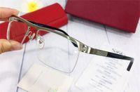 Vendita di occhiali telaio mezza cornice telaio metallo placcato oro placcato gambe ultra chiaro occhiali ottici uomini classici stile business 4567598