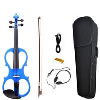 Электрическая скрипка Баланс Звук Полного размер 4/4 Электрической Скрипка Скрипка Массивного высокого уровень Электрических скрипок NEW SET синей