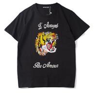 2019 Verão Designer de Camisas Para Homens Tops Tigre Cabeça Carta Bordado T Shirt Dos Homens de Roupas de Marca de Manga Curta Tshirt Mulheres Tops S-2XL