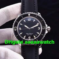 Luxury Fifty Fathoms 5015-1130-52 Reloj A2836 Caja de acero inoxidable con movimiento de construcción especial Marcado negro mejorado con correa de lona para hombres Reloj