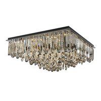 Neue dimmbare rechteckigen Kristalldeckenleuchter Beleuchtung moderne rauchgrau flush Kronleuchter Halterung leuchtet für Villa Wohnzimmer Schlafzimmer