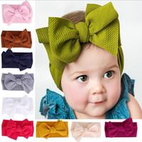 Embroma estiramiento turbante venda del nudo niño del bebé grande del arco del nudo HairBand Headwear Cabeza sólido Wrap Cinta de cabeza Accesorios GB1664
