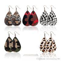 New Trendy PU Leather Earrings For Women Teardrop Shape Dangle Oval Earring Leopard Earrings Fashion Jewelry For Lady Girls Gifts