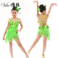 Сцена носить детские блестки кисточек соревнования латинское танцевальное платье девушки гимнастика практика партия танцующая танцующая танцевальная одежда костюмы