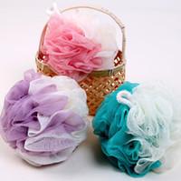 Neue Schaumbad Blume mit Seil hängt zart und weich 53g Badkugel große Farbanpassung Baden Blumen Waschtuch Großhandel Produk