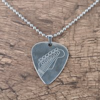 Fashion Punk Stainless Steel Guitar Pick Shape Charm Necklac...