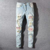 Yeni Erkek Stilist Jeans Mavi Erkekler Kadınlar Sıkıntılı Fermuar Jeans Denim Pantolon Erkek Yüksek Kalite Pantolon Ripped